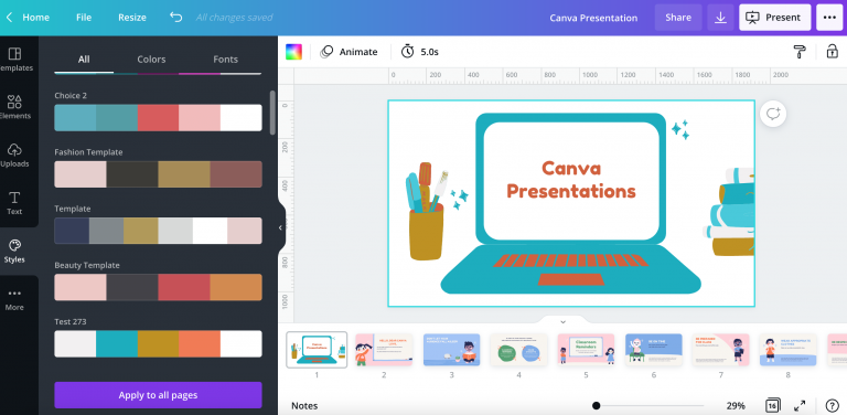 Canva presentations for business
