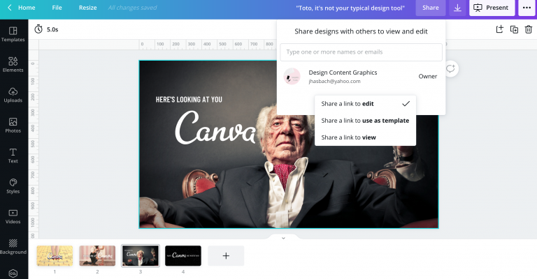 share presentations in canva